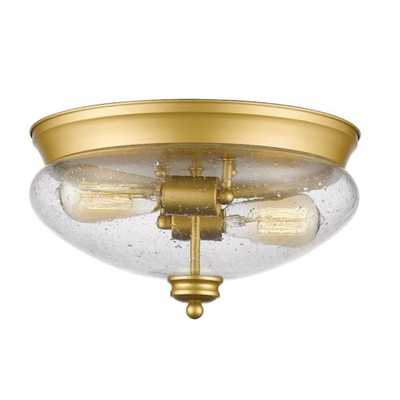 Z-Lite Amon 2 Light Flush Mount, Satin Gold, Clear Seedy - 722F2-SG - eBay
