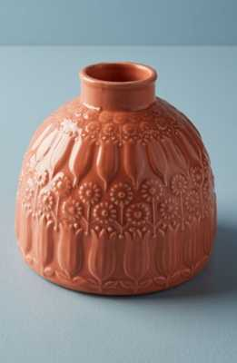 Anthropologie Embossed Floral Vase, Size Small - Coral - Anthropologie