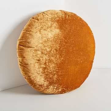 Round Lush Velvet Pillows, Golden Oak - West Elm