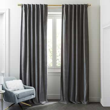 "Worn Velvet Curtain, Metal, 48""X108"" Unlined-Individual - West Elm"