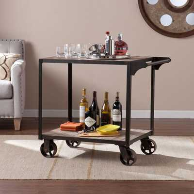 Carlisle Industrial Bar Cart in Aged Black with Aged Gray - Home Depot