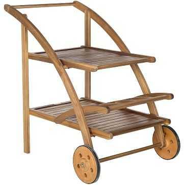 Outdoor Wood Bar Cart, Small, Teak Wash - West Elm