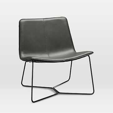 Slope Leather Lounge Chair, Aspen Leather, Fog, Charcoal - West Elm
