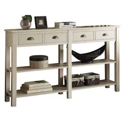 "Bowery Hill 60"" Console Table in Cream - eBay"