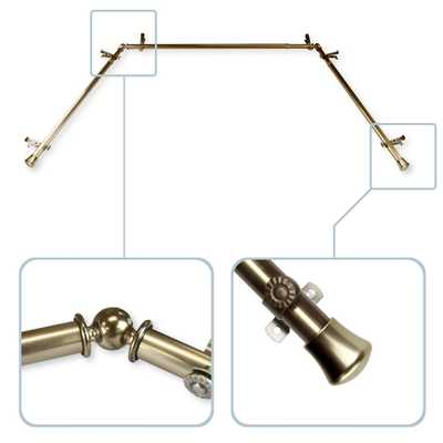 Rod Desyne 13/16 in. Bay Window Curtain Rod 20 in. in. - 36in., 38 in. - 72 in. in Antique Brass - Home Depot