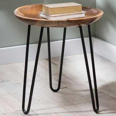 Mina Teak Wood and Metal End Table - Wayfair