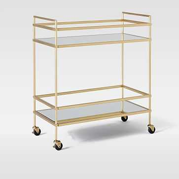 Terrace Bar Cart, Antique Brass/Glass/Mirror - West Elm