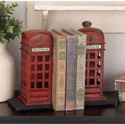 9 in. x 4 in. Metal British Phone Booth Bookend, Reds/Pinks - Home Depot