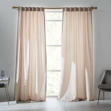 """Abstract Meadow Jacquard Curtain, Dusty Blush, 48""""x96"""" - West Elm"""