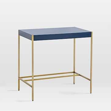 Zane Mini Desk, Navy/Antique Brass - West Elm