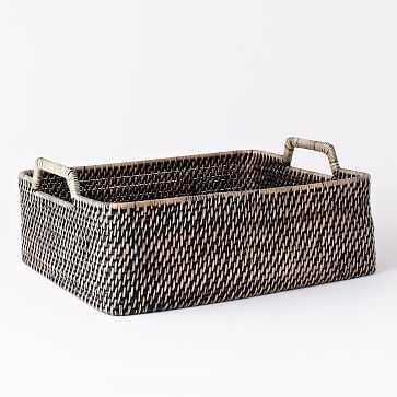 Modern Weave Harvest Basket, Blackwash - West Elm