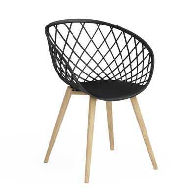 Kurv Black Arm Chair with Natural Wood Legs (Set of 2), Black/Natural - Home Depot