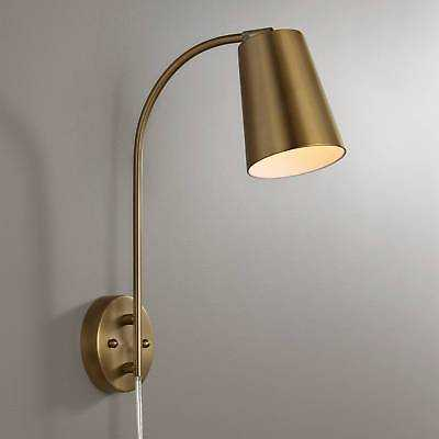 Sully Warm Brass Plug-In Wall Lamp - eBay
