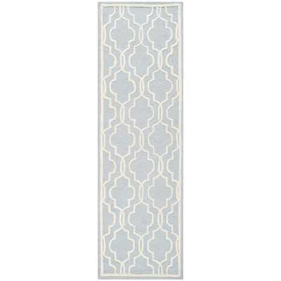Martins Hand-Tufted Wool Light Blue/Ivory Area Rug - Wayfair