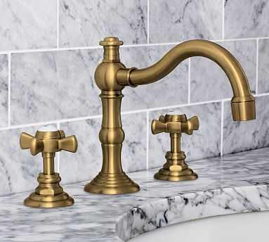 Langford Cross-Handle Widespread Bathroom Faucet, Brass Finish - Pottery Barn