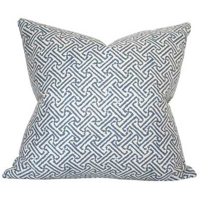 Java Java Navy - 20x20 pillow cover / pattern on front, solid on back - Arianna Belle