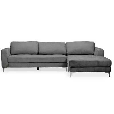 Agnew 2-Piece Mid-Century Gray Fabric Upholstered Right Facing Chase Sectional Sofa - Home Depot