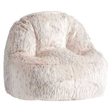 Snow Cat Faux-Fur Leanback Lounger - Pottery Barn Teen