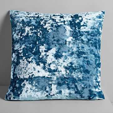 """Pressed Velvet Pillow Cover, Blue Slate, 20""""x20"""" - West Elm"""