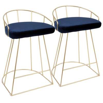 Canary Contemporary Gold and Blue Counter Stool Velvet (Set of 2), Blue/Gold - Home Depot