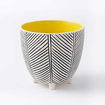 "Art in the Forest Cachepot, Herringbone/Yellow, 4"" - West Elm"
