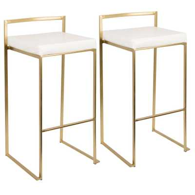 Fuji Gold and White Stackable Barstool (Set of 2), White/Gold - Home Depot