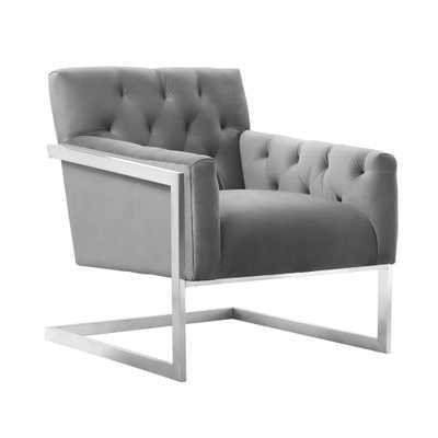 Armen Living Emily Grey Velvet Contemporary Accent Chair in Brushed Stainless Steel - Home Depot