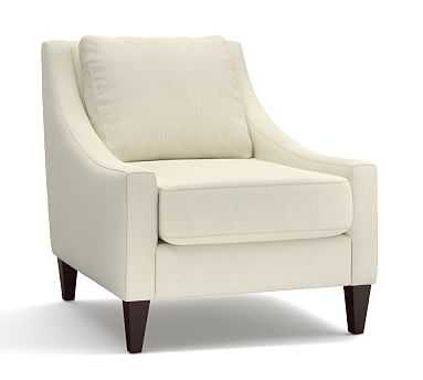 Aiden Upholstered Armchair, Polyester Wrapped Cushions, Premium Performance Basketweave Ivory - Pottery Barn