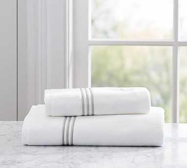 Grand Embroidered Organic Bath Towel, Gray - Pottery Barn