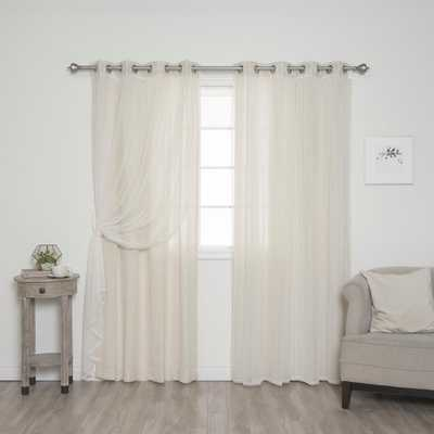 Best Home Fashion uMIXm Tulle and Natural Faux Linen Curtain - 52 in. W x 84 in. L (4-Pack), Tulle With Natural Panel - Home Depot