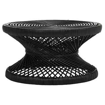 Woven Rattan Round Coffee Table, Black - West Elm