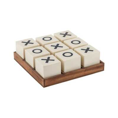 Crossnought 8 in. x 8 in. x 3 in. Cream and Natural Stain Decorative Tic-Tac-Toe Game, Whites - Home Depot