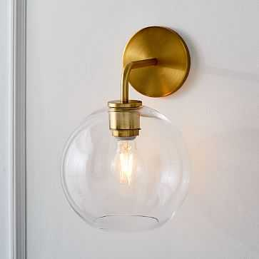 Sculptural Glass Globe Sconce, Small Globe, Clear Shade, Brass Canopy - West Elm