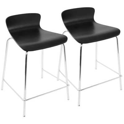 Wood Stacker 24 in. Black Stackable Counter Stool (Set of 2), Black/Grey - Home Depot