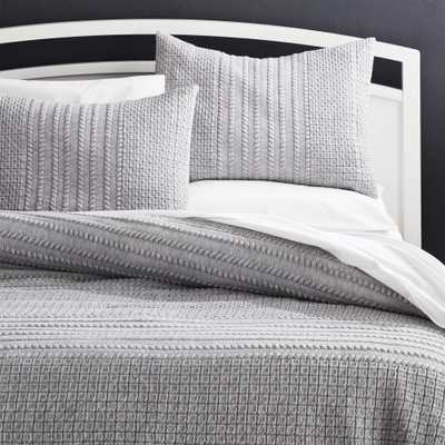Doret Grey Jersey Quilt King - Crate and Barrel