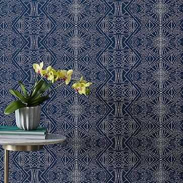Starburst Wallpaper, Navy - West Elm