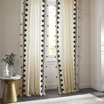 "Embroidered Border Curtain, Navy, 48""x84"" - West Elm"