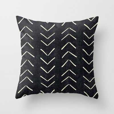"Mudcloth Big Arrows in Black and White Throw Pillow - Outdoor Cover (16"" x 16"") with pillow insert by Beckybailey1 - Society6"