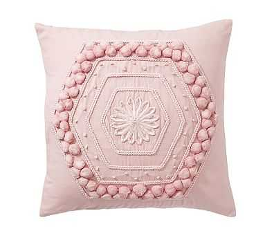 """Pom Pom Embroidered Pillow Cover, 20"""", Blush - Pottery Barn"""