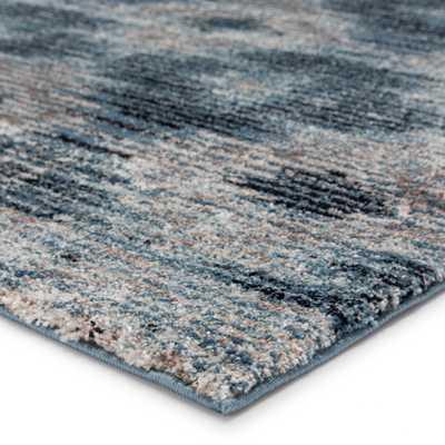 "Ciara Geometric Gray/ Blue Runner Rug (2'6""X8') - Collective Weavers"