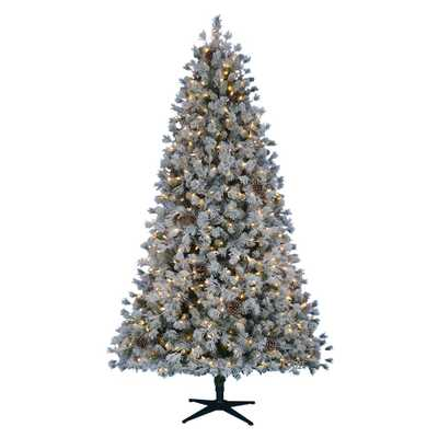 7.5 ft. Pre-Lit LED Flocked Lexington Pine Artificial Christmas Tree with 500 Warm White Lights - Home Depot