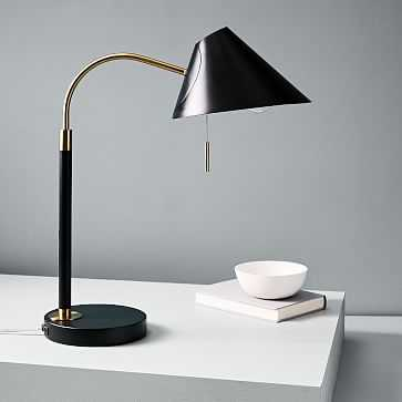Mid-Century Task Table Lamp, Black, USB-Individual - West Elm