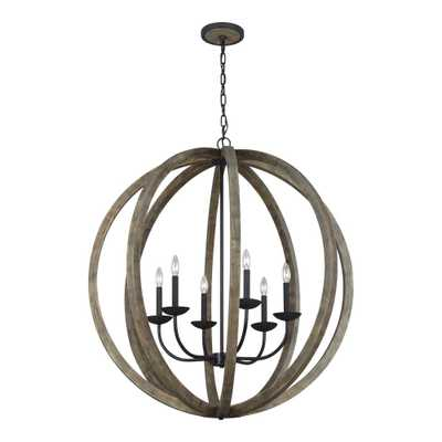 Feiss Allier 38 in. W. 6-Light Weathered Oak Wood and Antique Forged Iron Chandelier - Home Depot