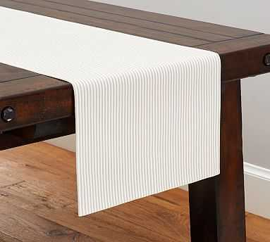 Wheaton Stripe Table Runner, Flax - Pottery Barn