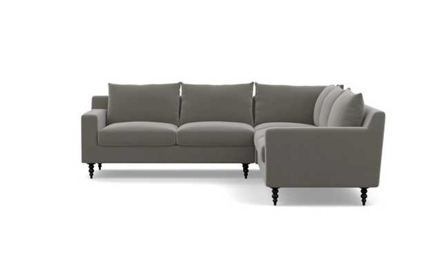 Sloan Corner Sectional with Greige Fabric and Matte Black legs - Interior Define