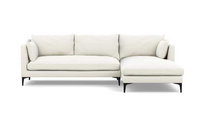 Caitlin by The Everygirl Chaise Sectional with Ivory Fabric and Matte Black legs - Interior Define