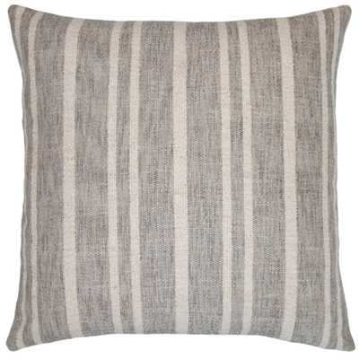 CALIFORNIA GREY STRIPE 26X26 PILLOW - Square Feathers