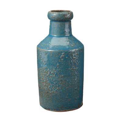 4 in. x 8 in. Rustic Ocean Earthenware Decorative Milk Bottle - Home Depot