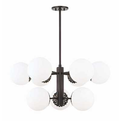 Mitzi by Hudson Valley Lighting Paige 9-Light Old Bronze Chandelier with Opal Glossy Glass Shade - Home Depot