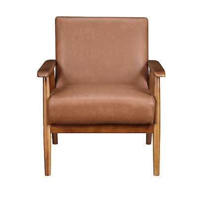 New Lillington Faux Leather Accent Chair with Exposed Wood Frame in Cognac Brown - eBay